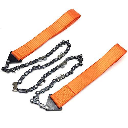Xploit - Sierra de cadena de bolsillo portátil para motosierra de mano con cadena bidireccional para jardinería, supervivencia, camping, al aire libre, corte de madera (20 pulgadas, 24 pulgadas)