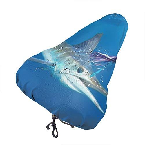 Like-like Sea Striped Marlin Fish Waterproof Bike Seat Rain Cover with Drawstring, Rain and Dust Resistant Cover