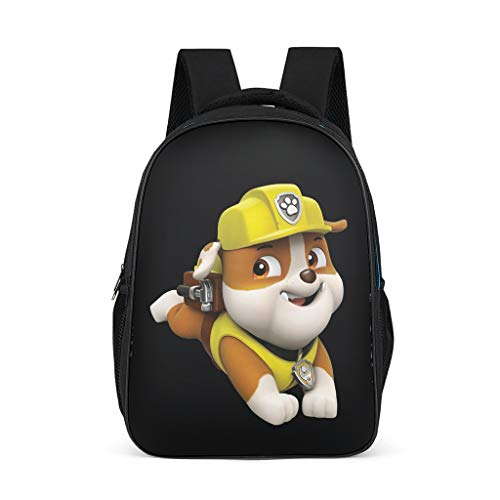 Fineiwillgo Mochila con diseño de patrulla de patrulla canina, para cumpleaños, fiestas, cachorros, práctica bolsa para libros, para hombre, camping, gris brillante, talla única
