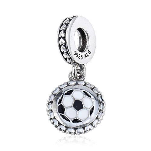 Charm voor dames van 925 zilver, creatief modesieraad in wit zwart sport voetbal stempel armband charm parelketting voor dames meisjes moeder dochter verjaardagscadeau party jurk