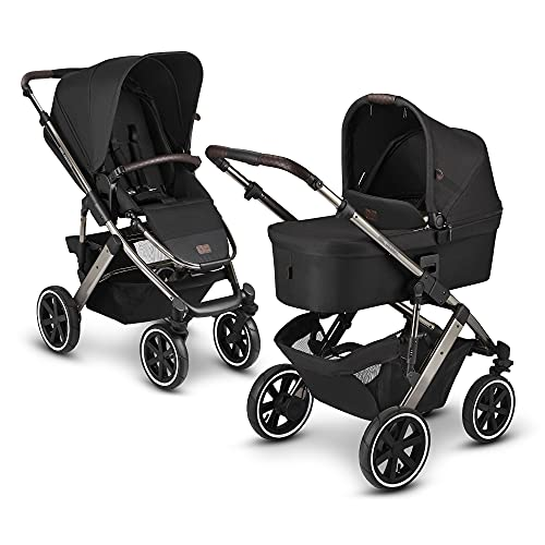 ABC Design 2 in 1 Kinderwagen Salsa 4 Air Diamond Edition – Kombikinderwagen für Neugeborene & Babys – Inkl. Sportsitz Buggy & Tragewanne – Radfederung & Luftreifen – Farbe: dolphin