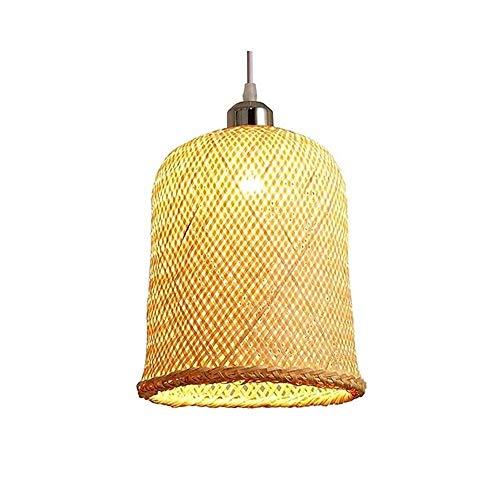 Luz colgante moderna Lámpara de linterna de una sola cabeza moderna, araña de techo de ratán natural Sombra de araña artesanal, altura ajustable, 20 × 30 cm adecuado for sala de estar, oficina, salón