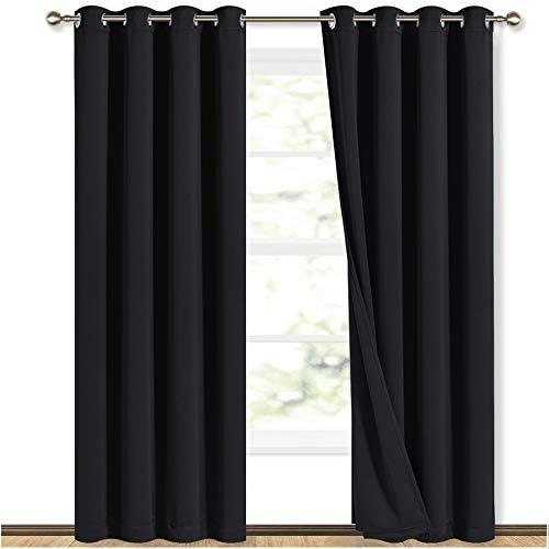 NICETOWN High-End Thermal Curtains, Full Blackout Curtains 84 inches Long for Dining Room, Soundproof Window Treatment Drapes for Hall Room, Black, 52 inches Wide Per Panel, Set of 2 Panels