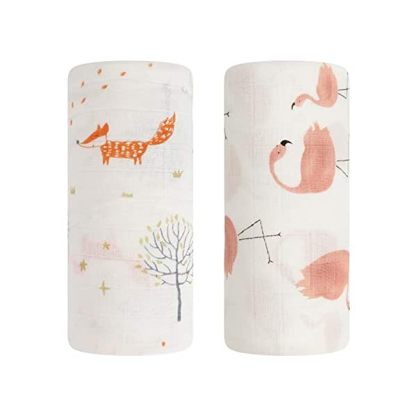 Baby Swaddle Blanket, Bamboo Muslin Swaddle Blanket for Girls & Boys,Soft Silky Receiving Swaddle Wrap 70% Bamboo+ 30% Cotton, Large 47 x 47 inches, Set of 2 – Fox & Flamingo