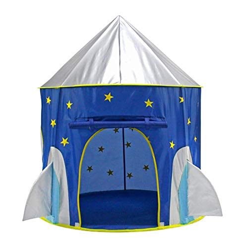Children Kids Rocket Tent Play House Ball Pool Safety Room Foldable Indoor Outdoor Toy for Girls Boys Fairy Castle Pop Up Star Tent