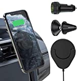 Tendak 2-in-1 Autotelefonhalter mit Drahtlosem Ladegerät + QC 3.0 Dual USB Autoladegerät Adapter + Magnetische Kfz-Entlüftungshalterung, Telefon Schnellladestation Set kompatibel mit Allen Qi-Geräten