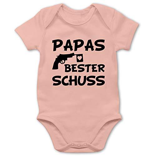 Vatertagsgeschenk Tochter & Sohn Baby - Papas Bester Treffer - 1/3 Monate - Babyrosa - Body Junge - BZ10 - Baby Body Kurzarm für Jungen und Mädchen