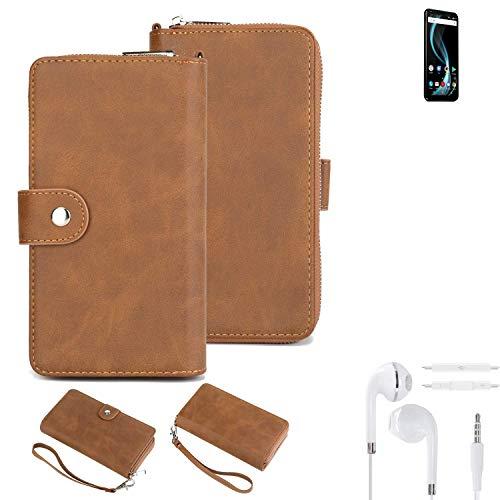 K-S-Trade Handy-Schutz-Hülle Für Allview X4 Soul Infinity Plus + Kopfhörer Portemonnee Tasche Wallet-Hülle Bookstyle-Etui Braun (1x)