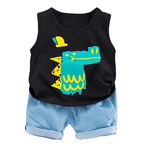 Briskorry Conjunto de ropa de verano para bebé, niños y bebés, dibujos animados, camiseta de manga corta, chaleco + pantalones cortos, conjunto de ropa de verano para recién nacidos