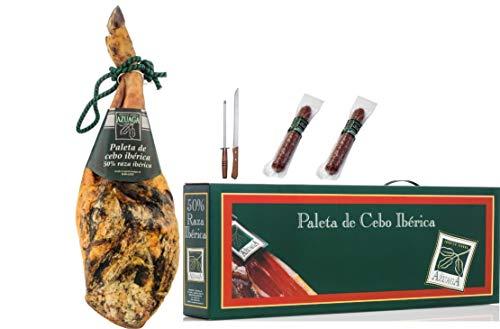 Campodulce lote paleta cebo iberico 50% de 4,5 a 5,0 Kg. + Embutido (chorizo y salchihón Ib). + cuchillo y afilador 5400 g