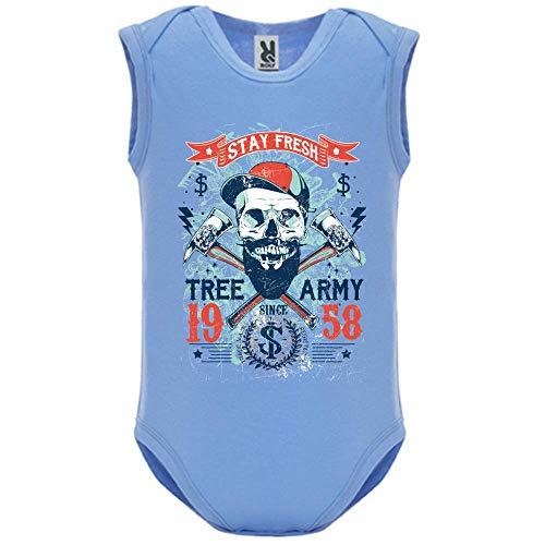 LookMyKase Body bébé - Manche sans - Tree Army - Bébé Garçon - Bleu - 12MOIS