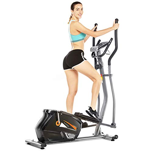 FUNMILY Elliptical Machine Cross Trainer, EM530 Cardio Fitness Equipment with 10 Level Magnetic Resistance, LCD Monitor, 390 LBs Max Weight for Home Gym(Silver)