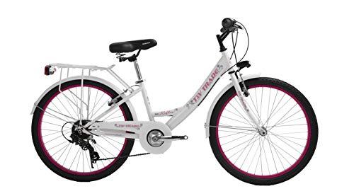 T&Y Trade 24 Zoll Kinder MÄDCHEN City Fahrrad MÄDCHENFAHRRAD CITYFAHRRAD KINDERFAHRRAD CITYRAD MÄDCHENRAD Rad Bike 7 Shimano Gang Reflex WEIß