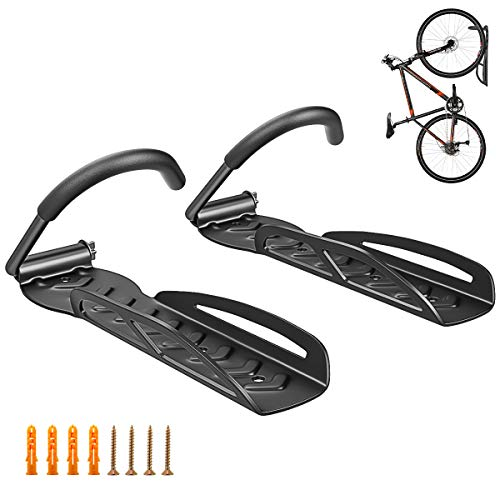 Housolution Bike Hanger Rack, [2 Pack] Heavy Duty Garage Wall Mount Bike Hanger Storage System, Vertical Bike Hook with Anti-Slip Stripe, Easy Hang/Detach - Holds up to 66 lb with Screws - Schwarz
