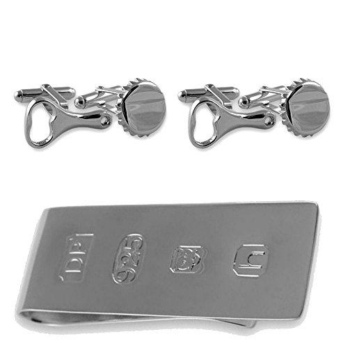 Select Gifts Sterling Silber Flaschenöffner & cap Manschettenknöpfe James Bond Geld Clip Box Set