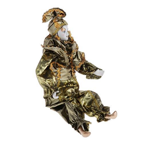 CUTICATE 42cm Handgemachte Halloween Clown Kostüm Porzellanpuppe Spielfigur Dekoration Souvenirs Sammlung Geschenk - Gold