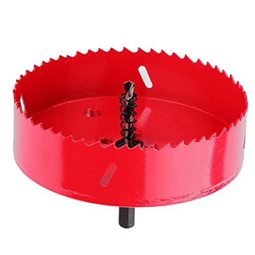 QTJUST Sierra de agujero roja con taladro Pi-lot para cortar agujeros de metal para madera de plástico/yeso/placas de yeso 150 M-M