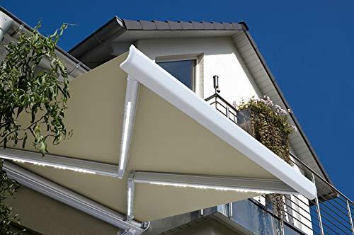 Home Deluxe - LED Vollkassettenmarkise mit Wind- und Sonnensensor - ELOS Sandfarben - 500 cm x 300 cm - komplett inkl. Montagematerial - Verschiedene Größen und Designs