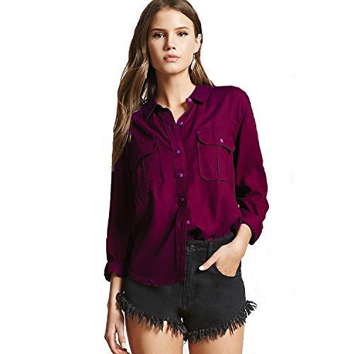 C.Cozami Women's Casual Shirt (MC213M_Wine_Medium)