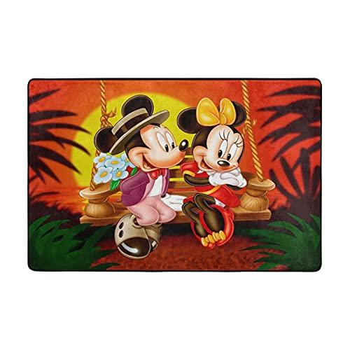 Alfombra de Mickey Cartoon Minnie Mouse adecuada para sala de estar, dormitorio, área de los niños, decoración de casa de arte suave y cómoda, 91 x 60 cm