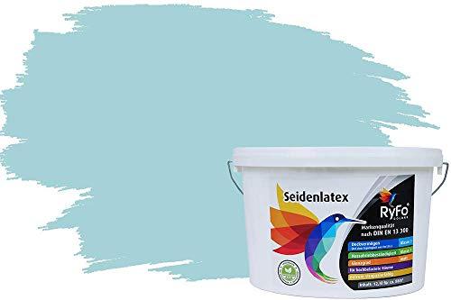 RyFo Colors Seidenlatex Trend Blautöne Gletscherblau 12,5l - bunte Innenfarbe, weitere Blau Farbtöne und Größen erhältlich, Deckkraft Klasse 1