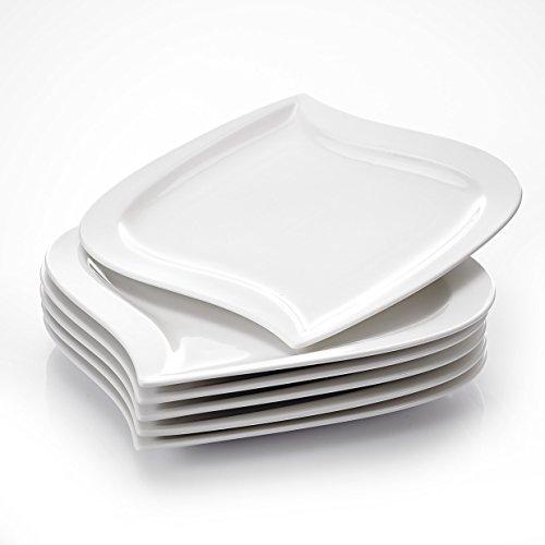 MALACASA, Serie Elvira, 6 teilig Set CremeWeiß Porzellan Kuchenteller Dessertteller Frühstücksteller 8,5 Zoll / 21,5x21x2cm für 6 Personen