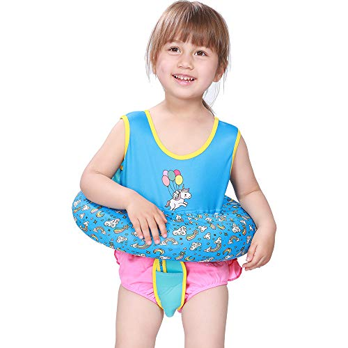 Megartico Kid's Swim Trainer Vest Inflatable Tube Girls Adjustable Safety Strap Boys Buoyancy Swimwear - Toddler Learn to Swim