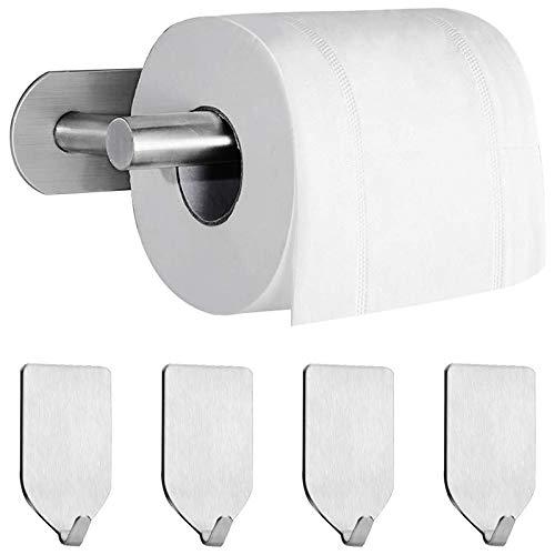 Huante - Portarrollos de papel higiénico autoadhesivo con 4 piezas autoadhesivas