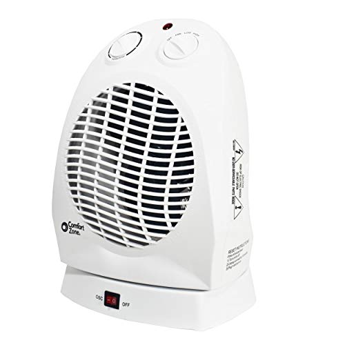 Comfort Zone CZ50 Oscillating Electric Portable Heater with Thermostat, White