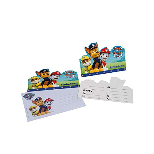 Lively Moments 6 Cartons D'Invitation, en Bleu de Paw Patrol pour Un Anniversaire d'enfant/Geburtstagsdekoration/Décoration pour Fête