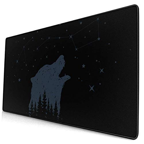 FZDB Gaming Tappettino del mouse, Non-Slip Rubber Gaming Tappettino del mouse, Rectangular Tappettino del mouse Badge White Animal Hand Drawn Bear and Constellations Illustrations Authentic Camping-0