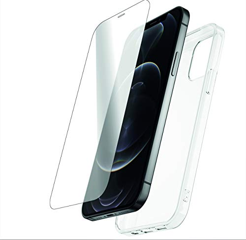 VICTUM Transparent Silikon Schutzhülle +1 Panzerglas Screen Protector, I Phone 12 Mini, Pro, Pro Max, Displayschutz aus Ultra Glas