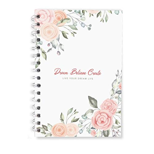 The positive store | Floral Design Dream Believe Create Daily Planner for Time Management Undated Law of Attraction Journal with Hardcover | 220 Pages (90 Days Planner + Notes) | 90 GSM Paper