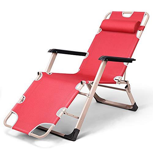 Unbne Sillón reclinable con reposacabezas Zero Gravity Marco de Acero Sillón reclinable Plegable para Acampar al Aire Libre y jardín Sillón 1200D Mesh Oxford Cloth,Rojo