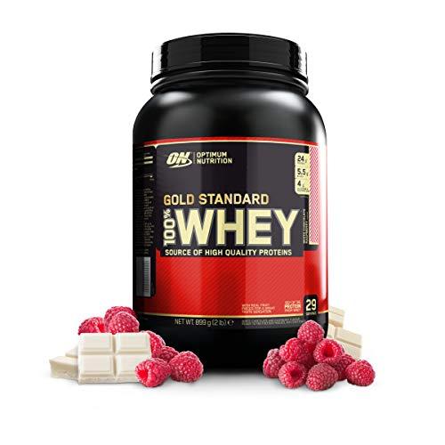 Optimum Nutrition ON Gold Standard 100% Whey Proteína en Polvo Suplementos Deportivos, Glutamina y Aminoacidos, BCAA, Chocolate Blanco y Frambuesa, 29 porciones, 900g, Embalaje puede variar