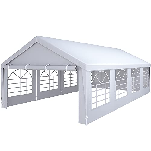 YITAHOME 13' x 26' Heavy Duty Gazebo Outdoor Party Wedding Tent Canopy Carport Shelter with Removable Sidewall Windows (13x26, White)