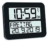 TFA Dostmann TimeLine Max Digitale Funkuhr, Kunststoff, Schwarz, L270 x B46 x H252 mm