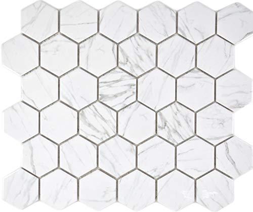 Azulejos de mosaico hexagonales de cerámica Carrara blanco brillante para baño o ducha, revestimiento para la pared de la cocina
