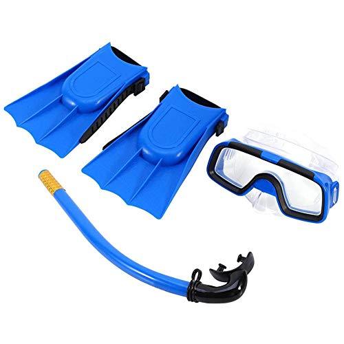 Kids Snorkel Set Full Face Snorkel Mask Seco Snorkel Set Diving Set Swim Goggle Respirar Tube con Aletas para Niños Niñas Azul