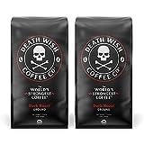DEATH WISH COFFEE Dark Roast Coffee Grounds [16 oz.] The World's Strongest Coffee, USDA Certified Organic, Fair Trade, Arabica, Robusta (2-Pack)