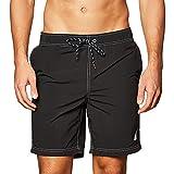 Nautica Men's Standard Solid Quick Dry Classic Logo Swim Trunk, True Black, Large