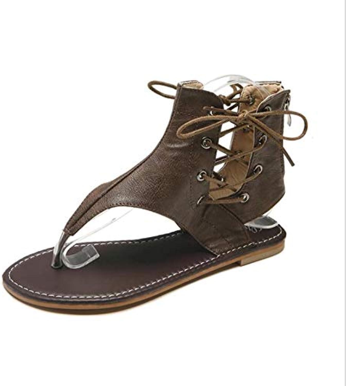 Roman High-Top Flat Sandals in Summer,Brown,36