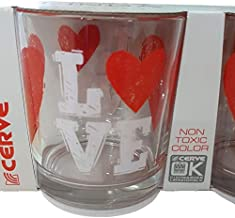 Cerve Set 3 Bicchieri Acqua Cooktail 22 cl Made in Italy Cuore Love