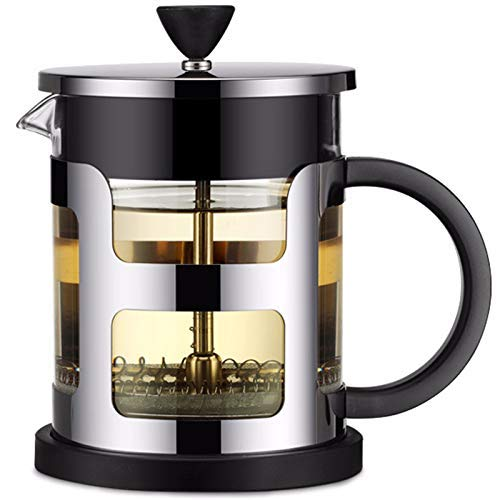 YAeele French Press Coffee Maker - Stainless Steel -Borosilicate Glass Coffee Pot Percolator, Single Serving Coffee Maker