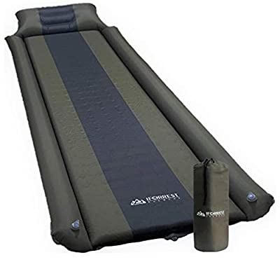 IFORREST Sleeping Pad with Armrest & Pillow - Rollover Protection - Self-Inflating Camping Pad - Ultra-Comfortable Foam Air Mattress (Army Green - L)