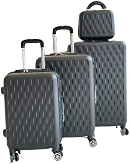 ZEE Luggage - Set of Trolley Bags 3 Pcs With Beauty Case, Black