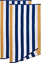 Utopia Towels - Toallas de Playa Azul-Beige de Primera algodón Hilado en Anillos, 600 gsm Altamente Absorbente, súper Suave y de Secado rápido (Paquete de 2)