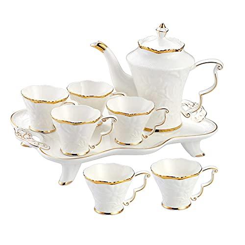 Juegos de té de porcelana Juegos de té de flores Taza de té de la tarde Juego de tetera Tetera Tazas de té Juego de tazas de café Tazas de té florales Tazas de café con leche Tazas de té elegantes