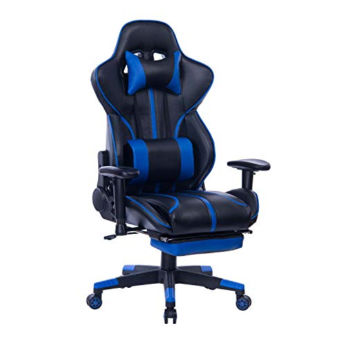 Blue Whale Gaming Chair PC Computer Game Chair with Footrest Racing Gamer Chair Ergonomic Office Chair High Back PU Leather Computer Desk Chair with Lumbar Cushion and Headrest