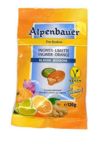 Alpenbauer Klassik - Bonbons Ingwer - Limette Ingwer - Orange 1 x 120g vegane, gefüllte Bonbons
